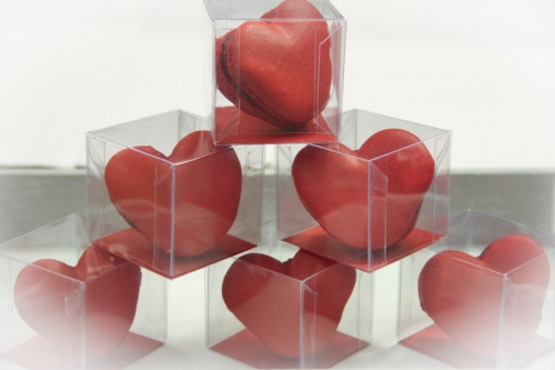 Heart Shaped macarons individual boxes