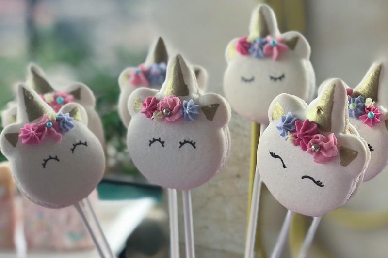 CEB Unicorn Macarons with sticks